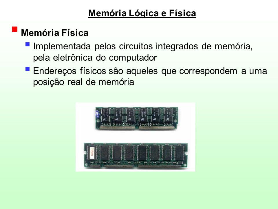 Memória Lógica e Física  Memória Física  Implementada pelos circuitos integrados de memória, pela eletrônica do computador  Endereços físicos são a