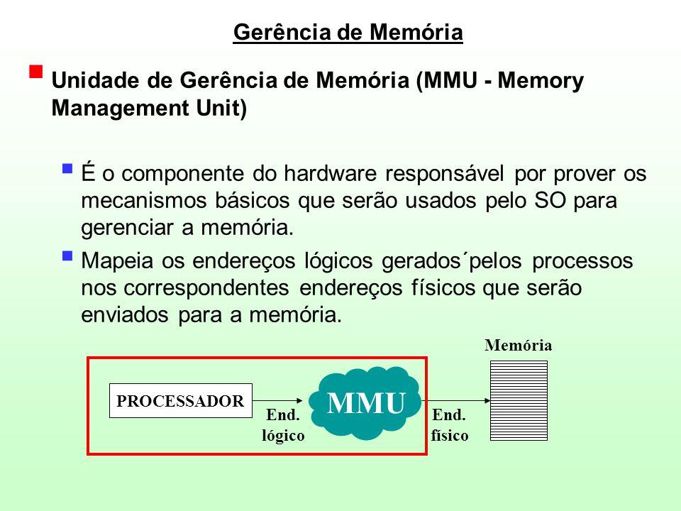 Exemplo de MMU  Os endereços lógicos e físicos possuem valores idênticos (123)  O espaço de endereçamento lógico de um processo é limitado pelos Registradores de Limites ( Inferior [100] e Superior [799] )  Qualquer endereço lógico fora desse intervalo é considerado ilegal.