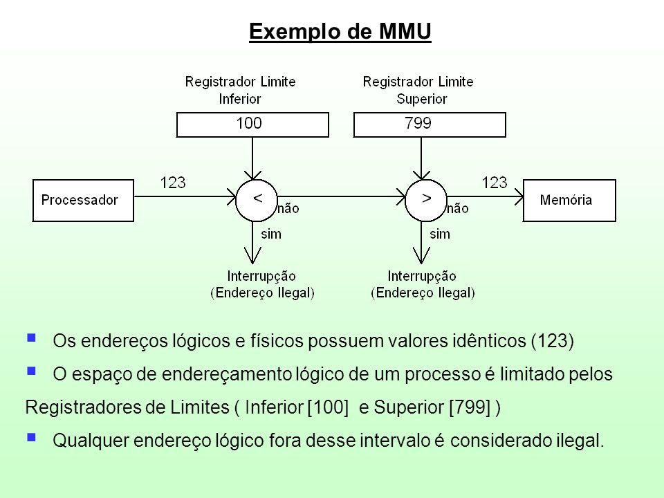Exemplo de MMU  Os endereços lógicos e físicos possuem valores idênticos (123)  O espaço de endereçamento lógico de um processo é limitado pelos Reg