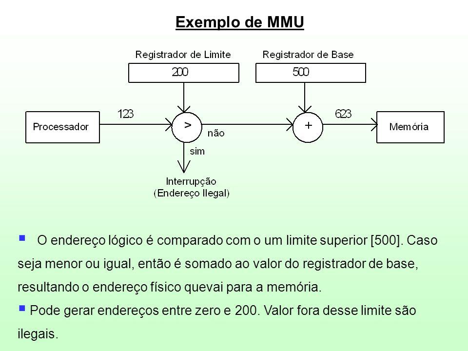 Exemplo de MMU  O endereço lógico é comparado com o um limite superior [500]. Caso seja menor ou igual, então é somado ao valor do registrador de bas