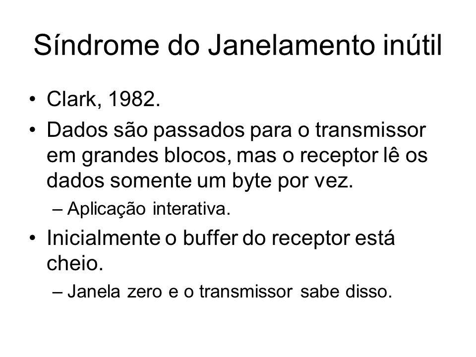 Síndrome do Janelamento inútil Clark, 1982. Dados são passados para o transmissor em grandes blocos, mas o receptor lê os dados somente um byte por ve