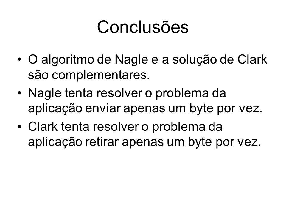 Conclusões O algoritmo de Nagle e a solução de Clark são complementares. Nagle tenta resolver o problema da aplicação enviar apenas um byte por vez. C