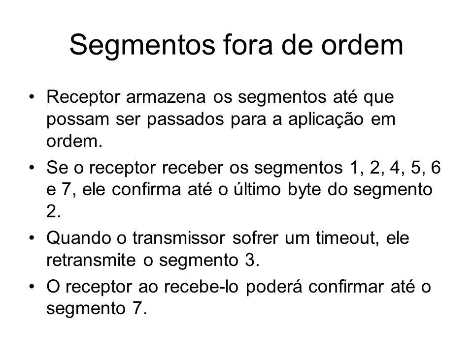Segmentos fora de ordem Receptor armazena os segmentos até que possam ser passados para a aplicação em ordem. Se o receptor receber os segmentos 1, 2,