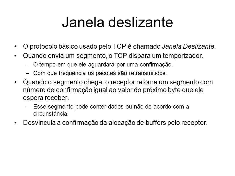 Janela deslizante O protocolo básico usado pelo TCP é chamado Janela Deslizante. Quando envia um segmento, o TCP dispara um temporizador. –O tempo em