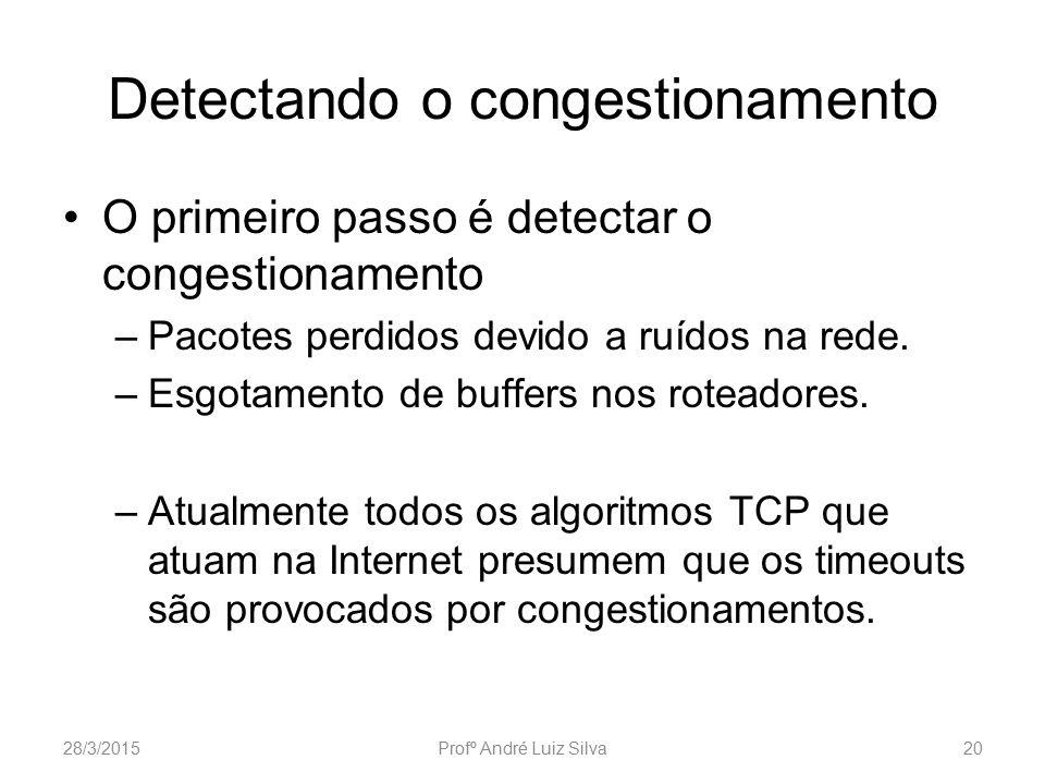 Detectando o congestionamento O primeiro passo é detectar o congestionamento –Pacotes perdidos devido a ruídos na rede. –Esgotamento de buffers nos ro