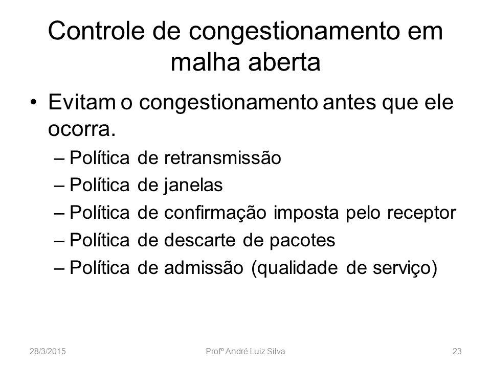 Controle de congestionamento em malha aberta Evitam o congestionamento antes que ele ocorra. –Política de retransmissão –Política de janelas –Política