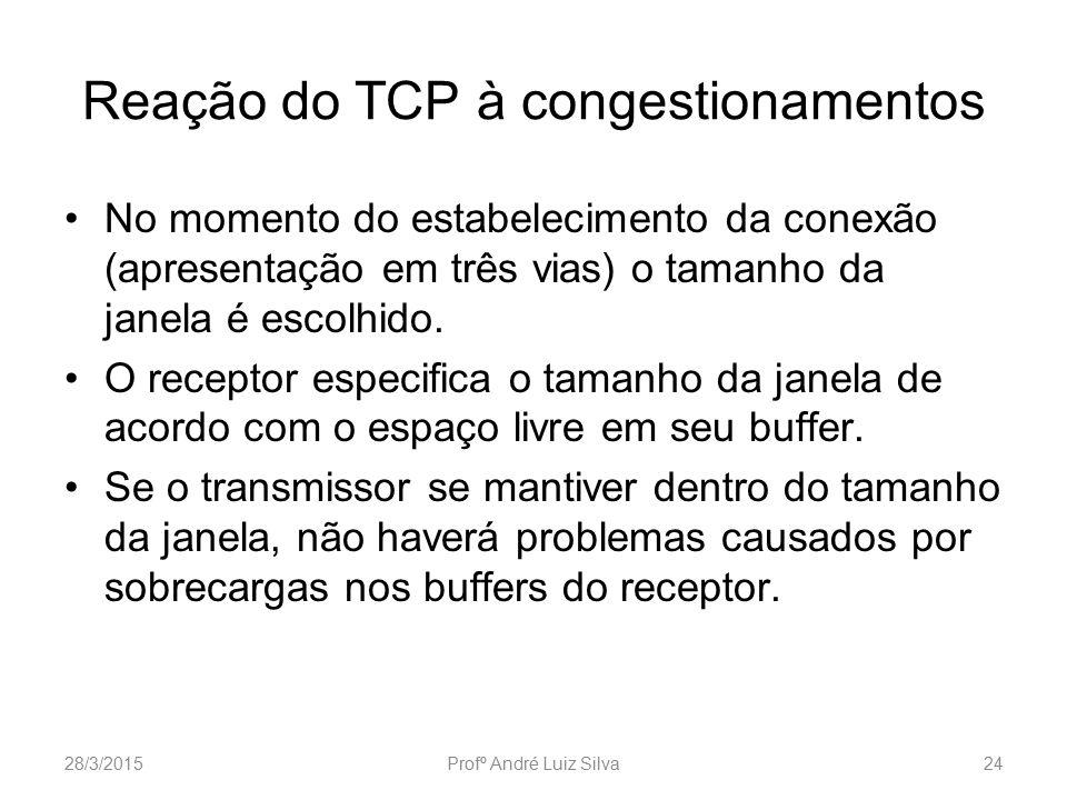 Reação do TCP à congestionamentos No momento do estabelecimento da conexão (apresentação em três vias) o tamanho da janela é escolhido. O receptor esp
