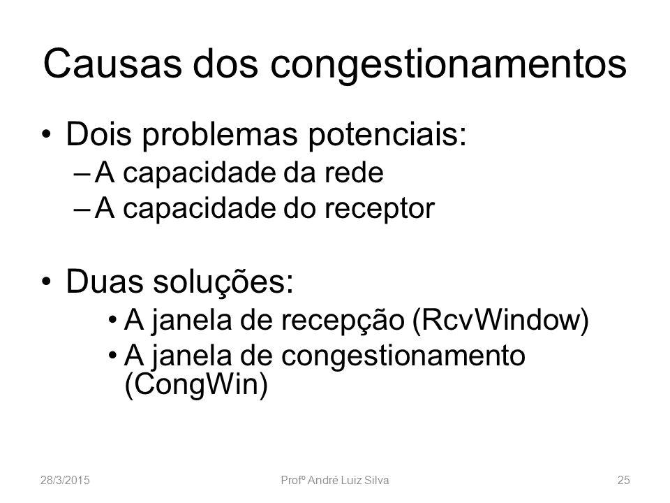 Causas dos congestionamentos Dois problemas potenciais: –A capacidade da rede –A capacidade do receptor Duas soluções: A janela de recepção (RcvWindow