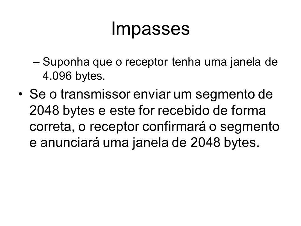 Impasses –Suponha que o receptor tenha uma janela de 4.096 bytes. Se o transmissor enviar um segmento de 2048 bytes e este for recebido de forma corre