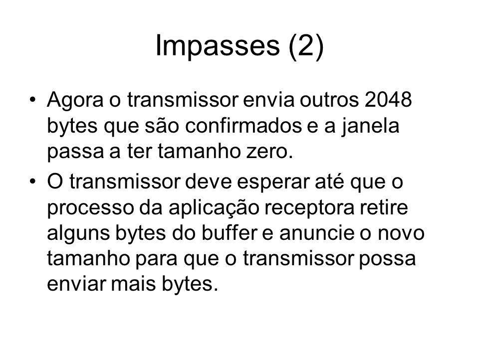 Impasses (2) Agora o transmissor envia outros 2048 bytes que são confirmados e a janela passa a ter tamanho zero. O transmissor deve esperar até que o