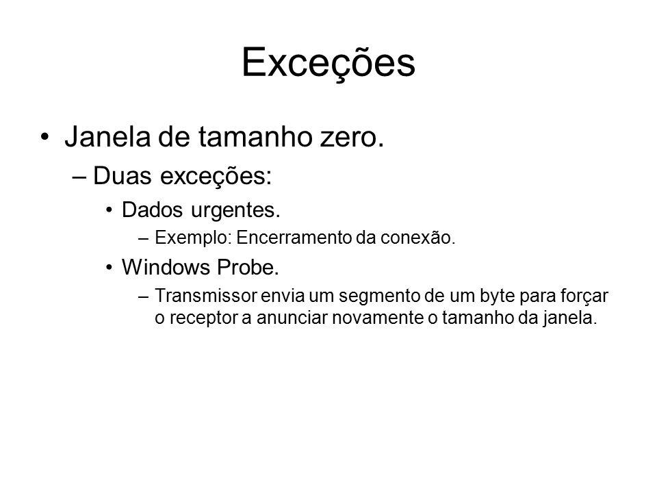 Exceções Janela de tamanho zero. –Duas exceções: Dados urgentes. –Exemplo: Encerramento da conexão. Windows Probe. –Transmissor envia um segmento de u