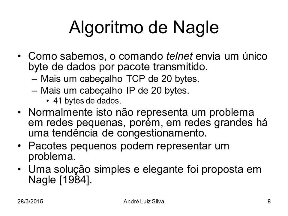Algoritmo de Nagle Como sabemos, o comando telnet envia um único byte de dados por pacote transmitido. –Mais um cabeçalho TCP de 20 bytes. –Mais um ca
