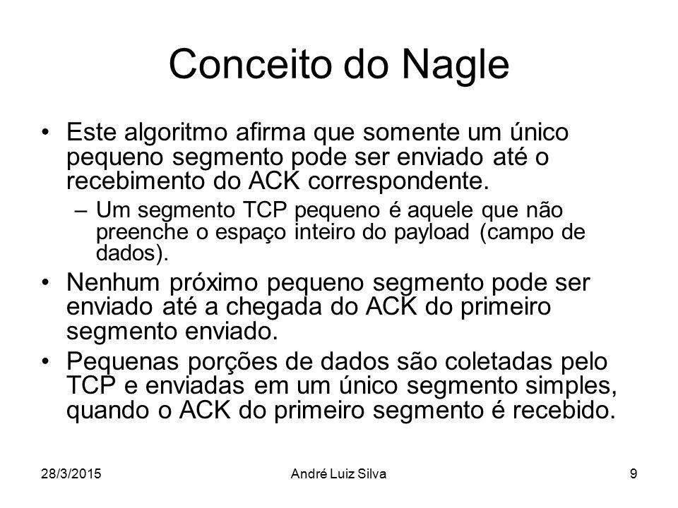 Conceito do Nagle Este algoritmo afirma que somente um único pequeno segmento pode ser enviado até o recebimento do ACK correspondente. –Um segmento T