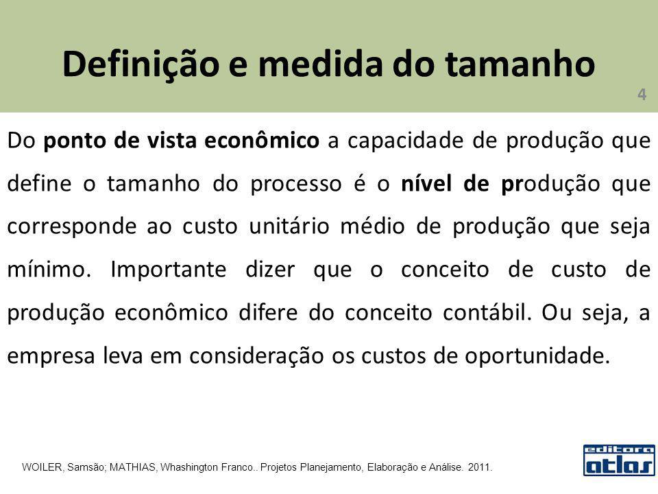 Definição e medida do tamanho Do ponto de vista econômico a capacidade de produção que define o tamanho do processo é o nível de produção que correspo
