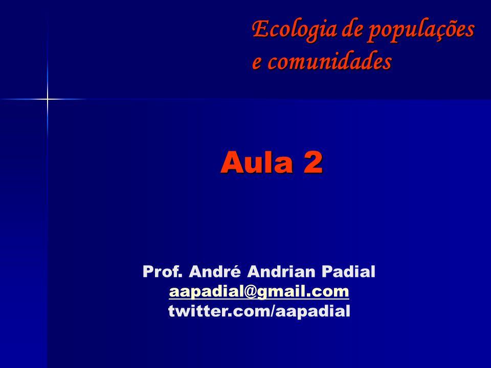 Aula 2 Prof. André Andrian Padial aapadial@gmail.com twitter.com/aapadial Ecologia de populações e comunidades