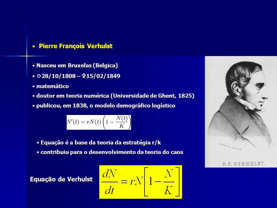 Pierre François Verhulst Pierre François Verhulst Equação de Verhulst Nasceu em Bruxelas (Belgica) Nasceu em Bruxelas (Belgica)  28/10/1808 –  15/02