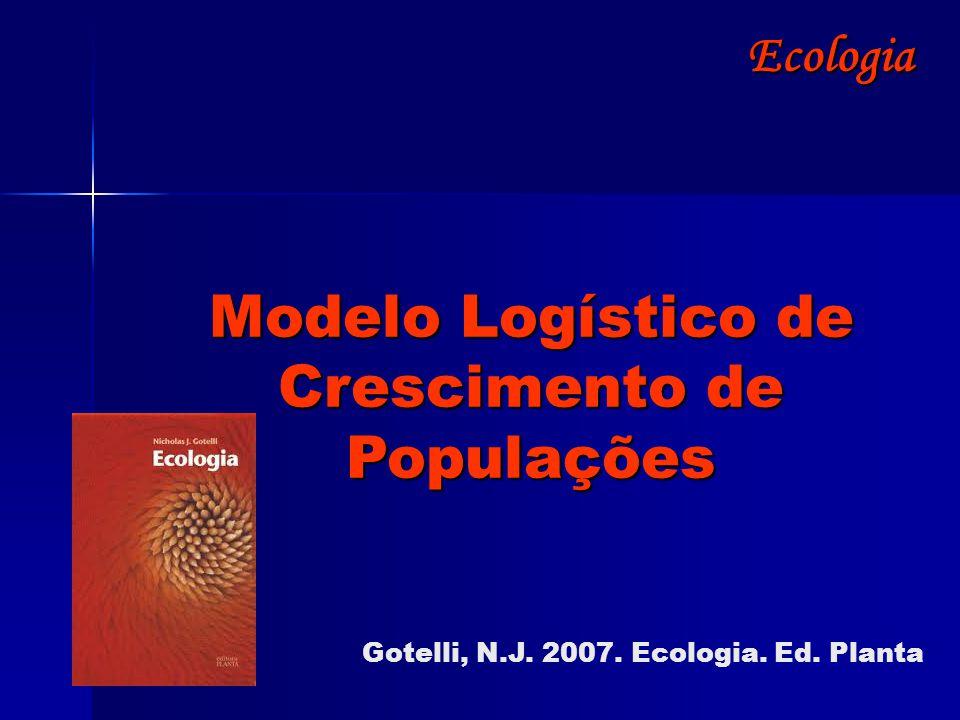 Ecologia Modelo Logístico de Crescimento de Populações Gotelli, N.J. 2007. Ecologia. Ed. Planta