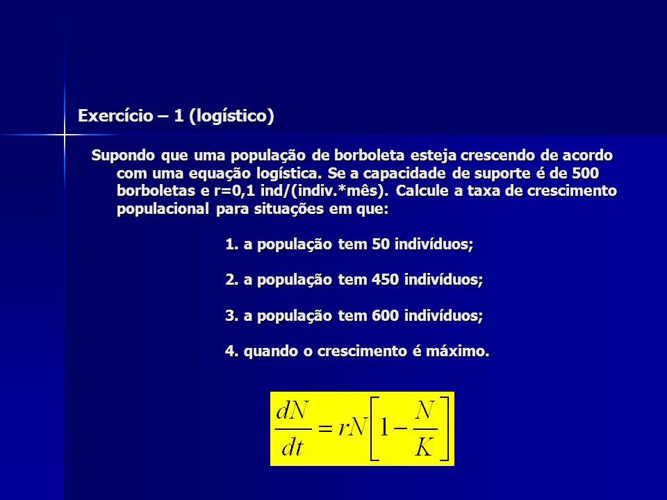 Exercício – 1 (logístico) Supondo que uma população de borboleta esteja crescendo de acordo com uma equação logística. Se a capacidade de suporte é de