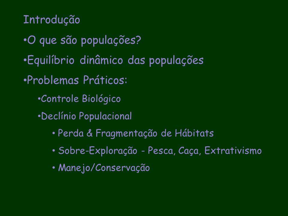 Problemas Práticos Controle Biológico: História de fracassos Declínio do Tamanho das Populações Naturais Sobre-Exploração: extrativismo, pesca, caça Perdas de Hábitat & Fragmentação Conservação/Manejo de Populações Naturais AVPs, Análise de Sensibilidade & Manejo Adaptativo
