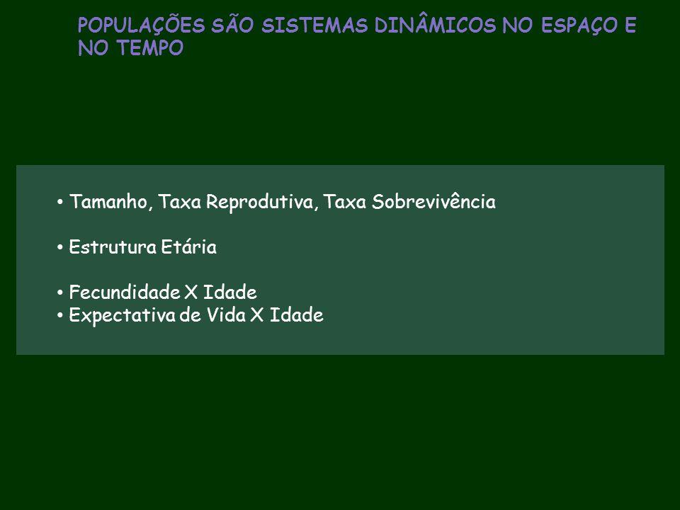 POPULAÇÕES SÃO SISTEMAS DINÂMICOS NO ESPAÇO E NO TEMPO Tamanho, Taxa Reprodutiva, Taxa Sobrevivência Estrutura Etária Fecundidade X Idade Expectativa
