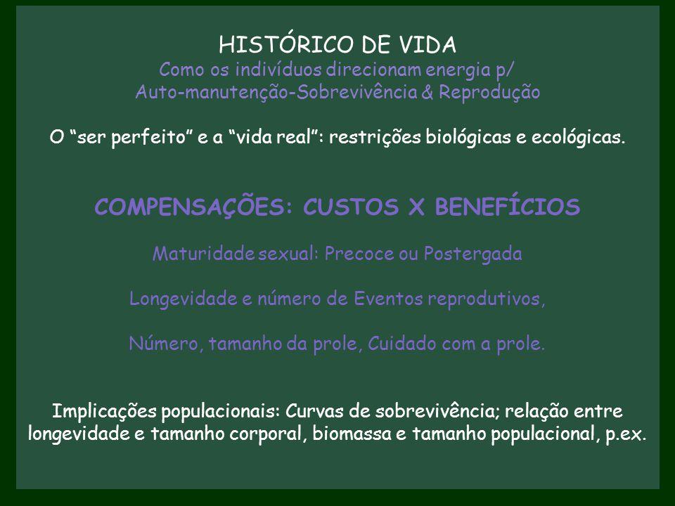 """HISTÓRICO DE VIDA Como os indivíduos direcionam energia p/ Auto-manutenção-Sobrevivência & Reprodução O """"ser perfeito"""" e a """"vida real"""": restrições bio"""