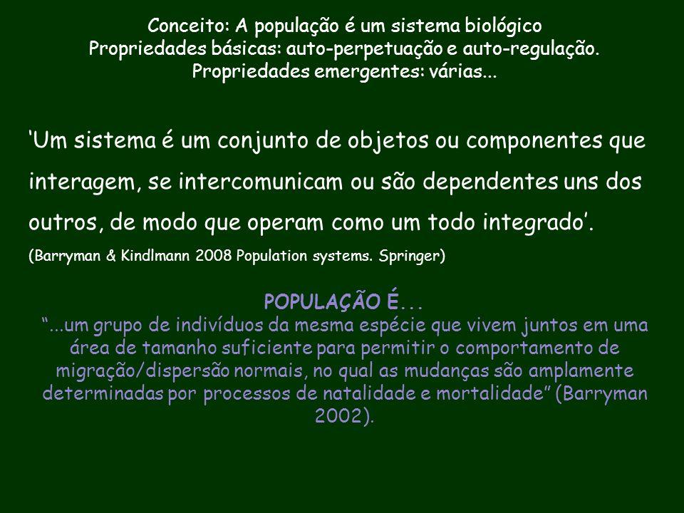 Conceito: A população é um sistema biológico Propriedades básicas: auto-perpetuação e auto-regulação. Propriedades emergentes: várias... 'Um sistema é