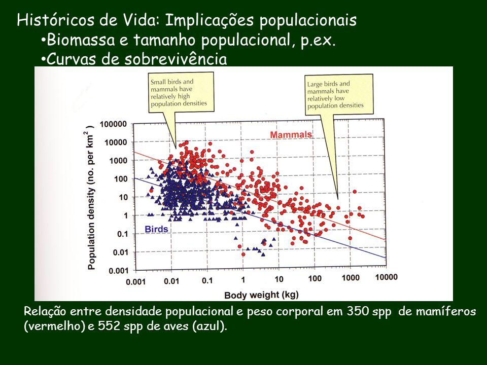Históricos de Vida: Implicações populacionais Biomassa e tamanho populacional, p.ex. Curvas de sobrevivência Relação entre densidade populacional e pe