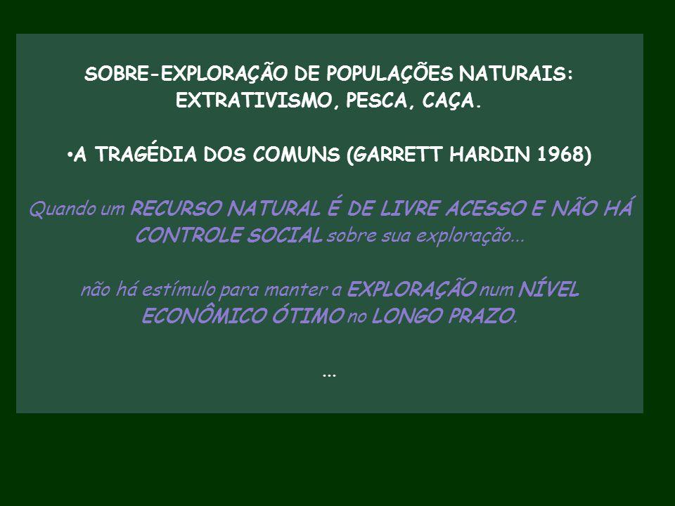 SOBRE-EXPLORAÇÃO DE POPULAÇÕES NATURAIS: EXTRATIVISMO, PESCA, CAÇA. A TRAGÉDIA DOS COMUNS (GARRETT HARDIN 1968) Quando um RECURSO NATURAL É DE LIVRE A