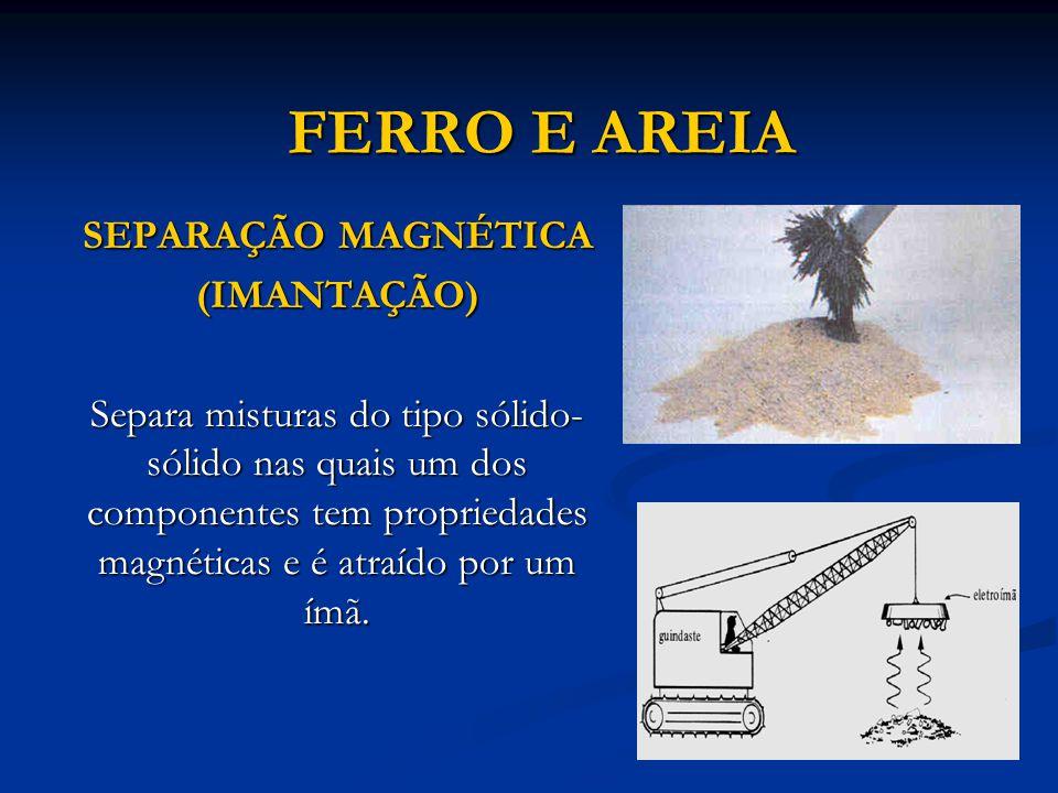 SERRAGEM E AREIA FLOTAÇÃO (Sedimentação fracionada) O sólido mais leve (menos denso) flutua em um líquido, enquanto o mais denso sedimenta