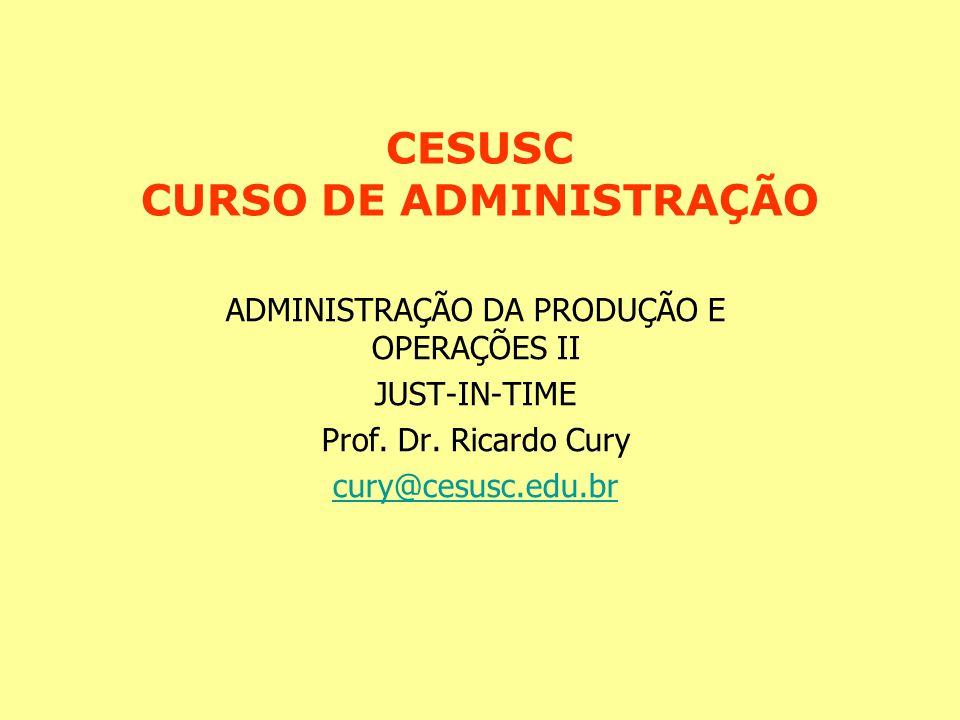 CESUSC CURSO DE ADMINISTRAÇÃO ADMINISTRAÇÃO DA PRODUÇÃO E OPERAÇÕES II JUST-IN-TIME Prof. Dr. Ricardo Cury cury@cesusc.edu.br