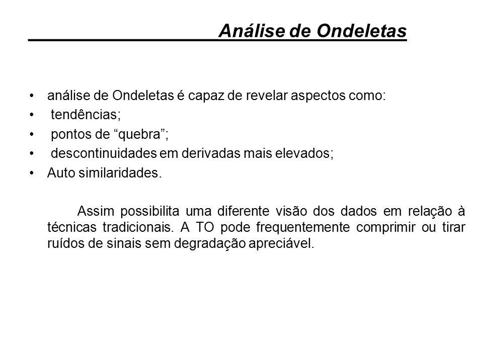 """análise de Ondeletas é capaz de revelar aspectos como: tendências; pontos de """"quebra""""; descontinuidades em derivadas mais elevados; Auto similaridades"""