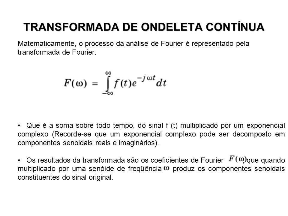 TRANSFORMADA DE ONDELETA CONTÍNUA Matematicamente, o processo da análise de Fourier é representado pela transformada de Fourier: Que é a soma sobre to