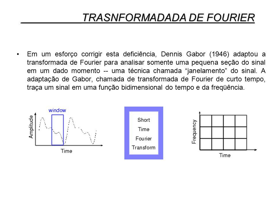 Em um esforço corrigir esta deficiência, Dennis Gabor (1946) adaptou a transformada de Fourier para analisar somente uma pequena seção do sinal em um