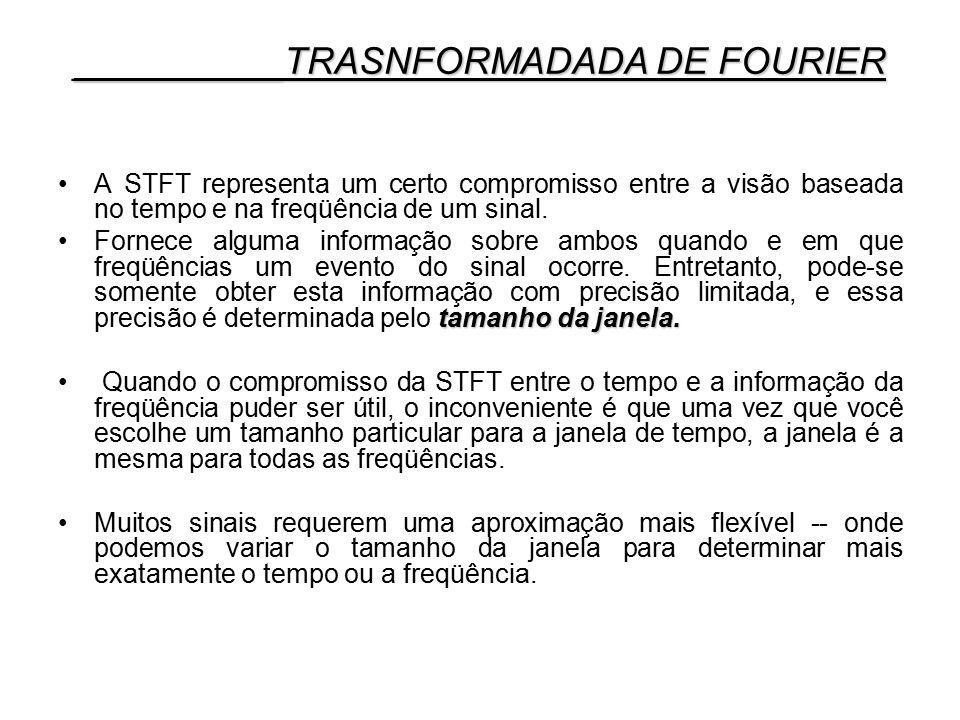 A STFT representa um certo compromisso entre a visão baseada no tempo e na freqüência de um sinal. tamanho da janela.Fornece alguma informação sobre a