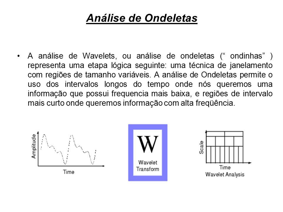 __________________Análise de Ondeletas Observa-se que a análise de Ondeletas não usa uma região de tempo- freqüência, mas sim uma região em tempo-escala.