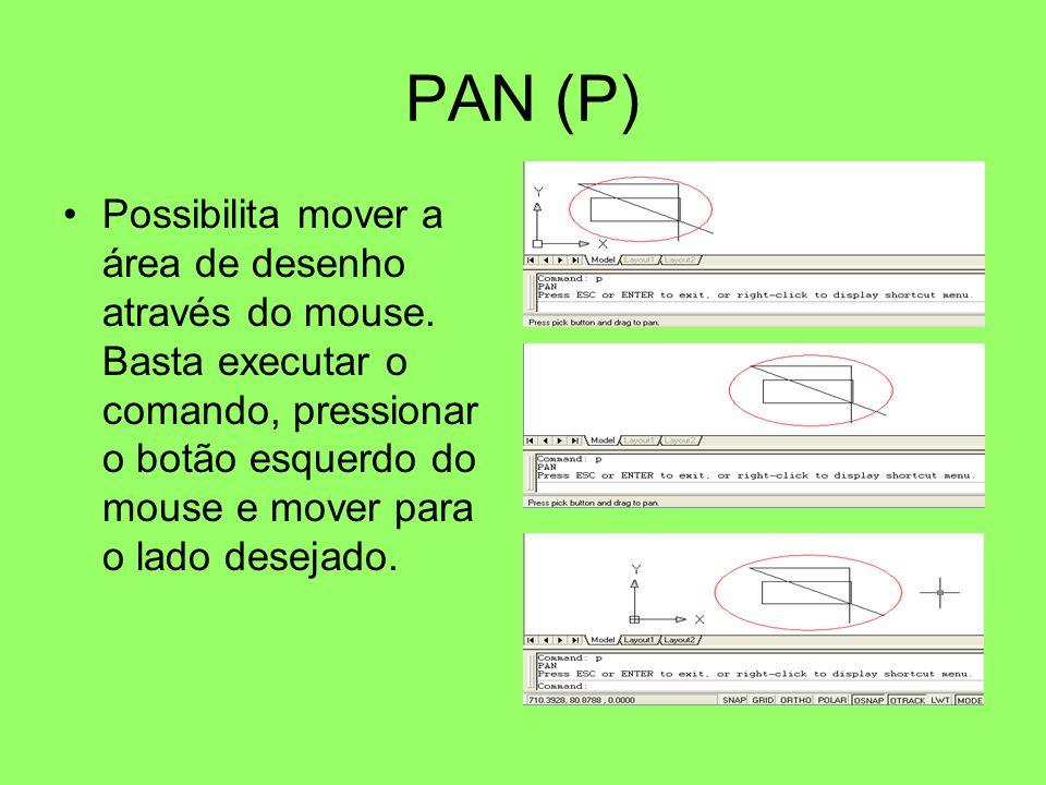 PAN (P) Possibilita mover a área de desenho através do mouse. Basta executar o comando, pressionar o botão esquerdo do mouse e mover para o lado desej