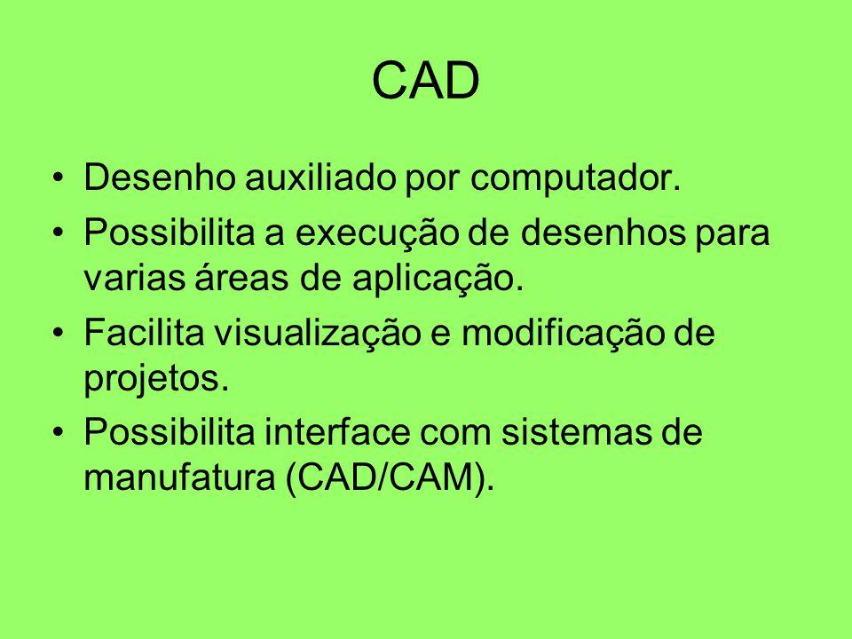 CAD Desenho auxiliado por computador. Possibilita a execução de desenhos para varias áreas de aplicação. Facilita visualização e modificação de projet