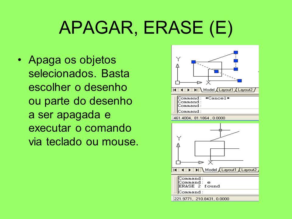 APAGAR, ERASE (E) Apaga os objetos selecionados. Basta escolher o desenho ou parte do desenho a ser apagada e executar o comando via teclado ou mouse.