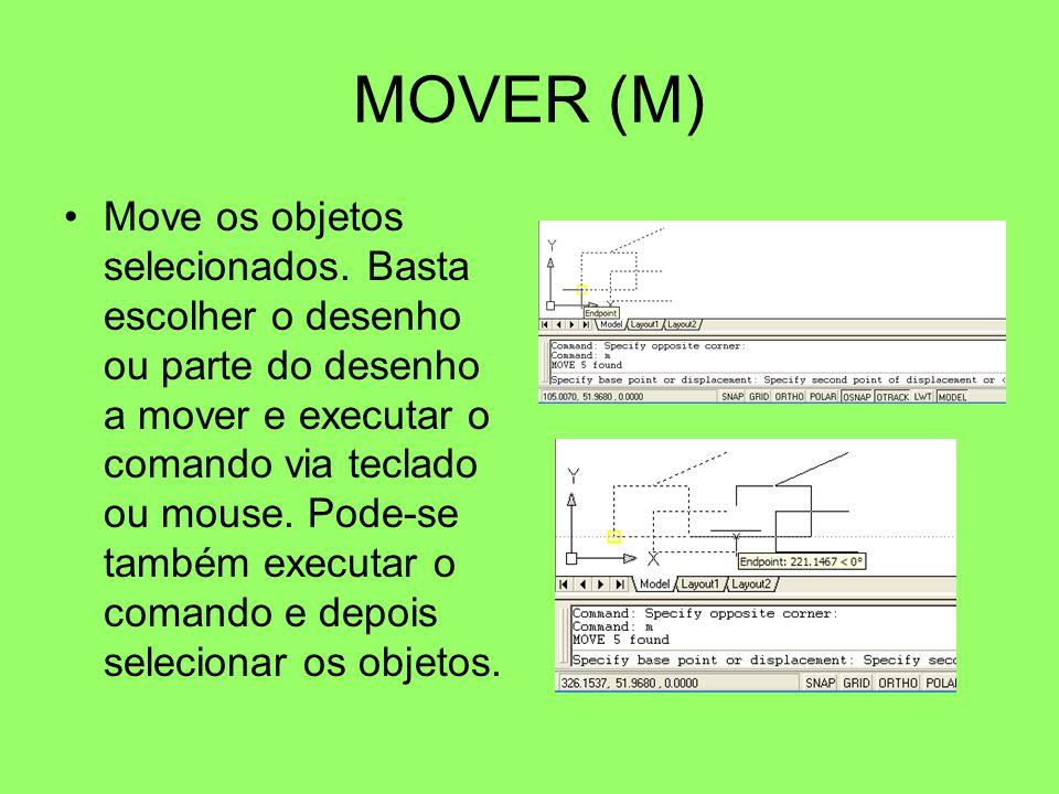 MOVER (M) Move os objetos selecionados. Basta escolher o desenho ou parte do desenho a mover e executar o comando via teclado ou mouse. Pode-se também