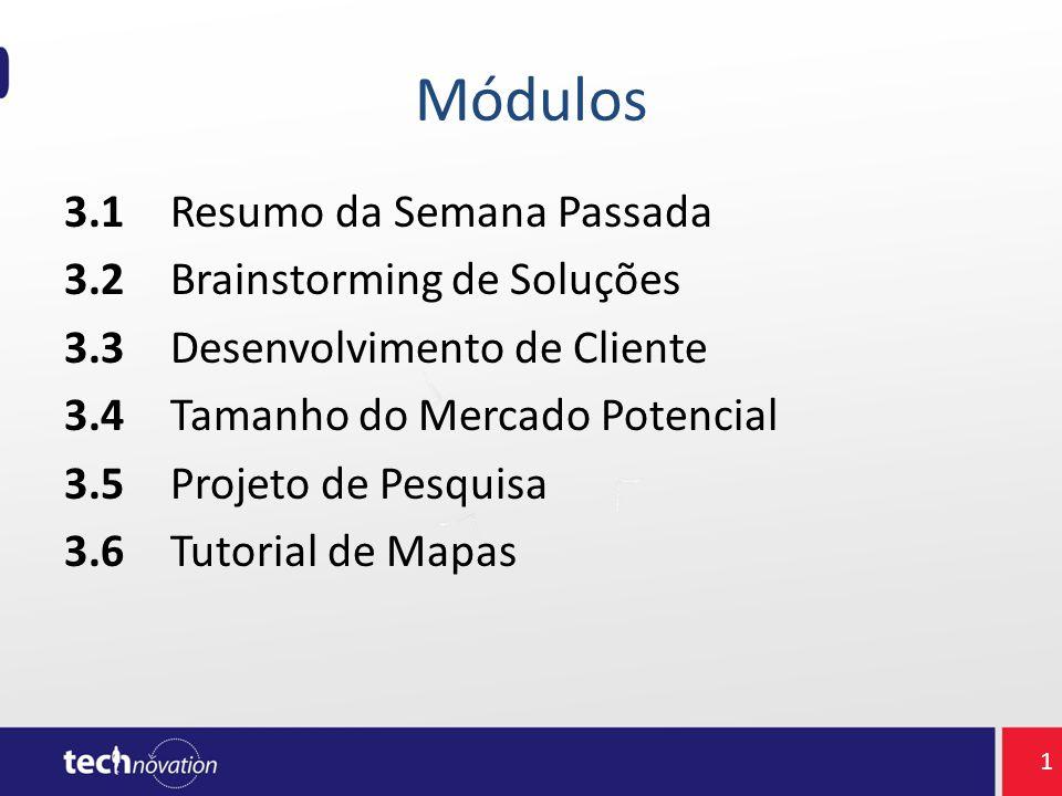 Módulos 3.1Resumo da Semana Passada 3.2Brainstorming de Soluções 3.3Desenvolvimento de Cliente 3.4Tamanho do Mercado Potencial 3.5Projeto de Pesquisa
