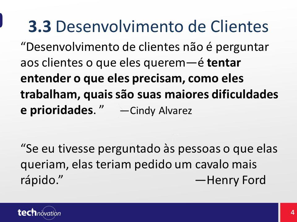 """3.3 Desenvolvimento de Clientes """"Desenvolvimento de clientes não é perguntar aos clientes o que eles querem—é tentar entender o que eles precisam, com"""