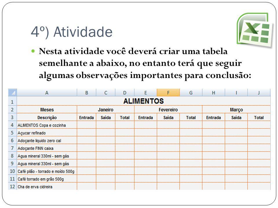 4º) Atividade Nesta atividade você deverá criar uma tabela semelhante a abaixo, no entanto terá que seguir algumas observações importantes para conclu
