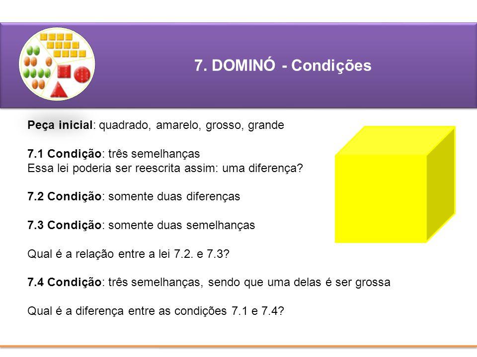7. DOMINÓ - Condições Peça inicial: quadrado, amarelo, grosso, grande 7.1 Condição: três semelhanças Essa lei poderia ser reescrita assim: uma diferen