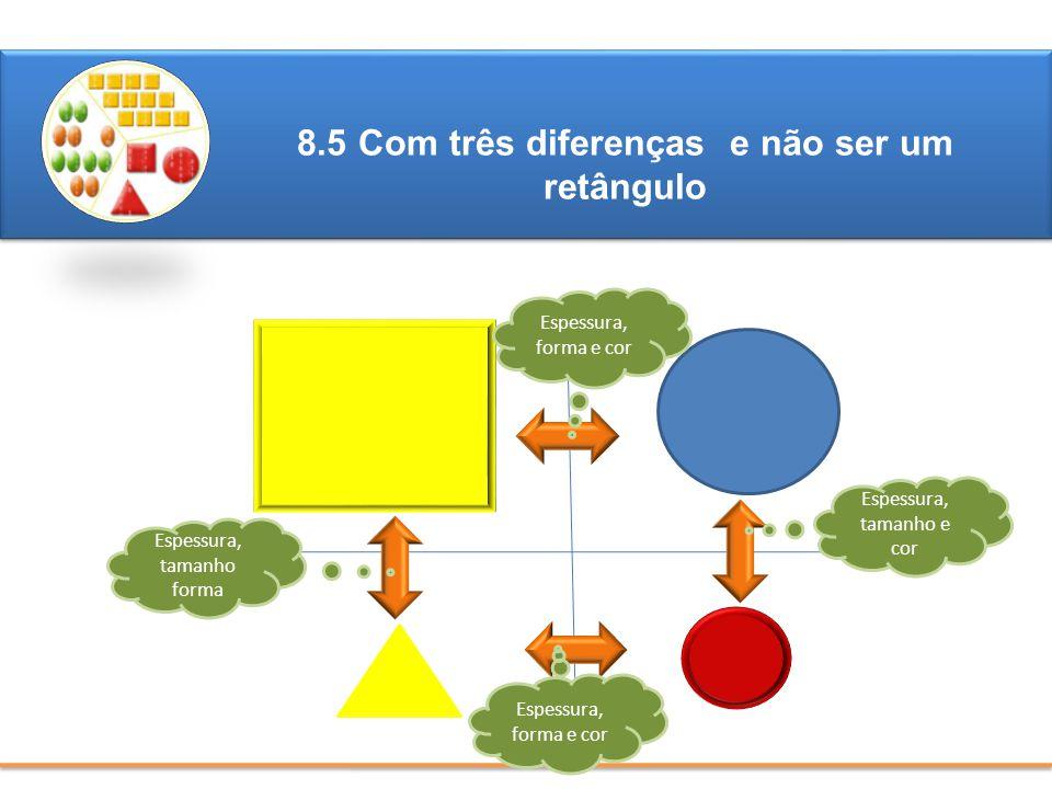 8.5 Com três diferenças e não ser um retângulo ?????? Espessura, tamanho e cor Espessura, forma e cor Espessura, tamanho forma Espessura, forma e cor