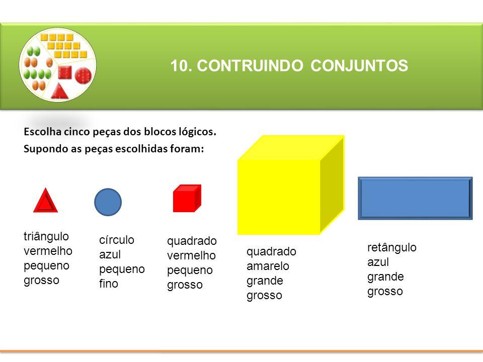Escolha cinco peças dos blocos lógicos. Supondo as peças escolhidas foram: 10. CONTRUINDO CONJUNTOS triângulo vermelho pequeno grosso círculo azul peq