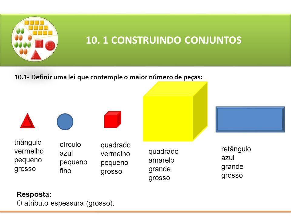 10.1- Definir uma lei que contemple o maior número de peças: 10. 1 CONSTRUINDO CONJUNTOS Resposta: O atributo espessura (grosso). triângulo vermelho p