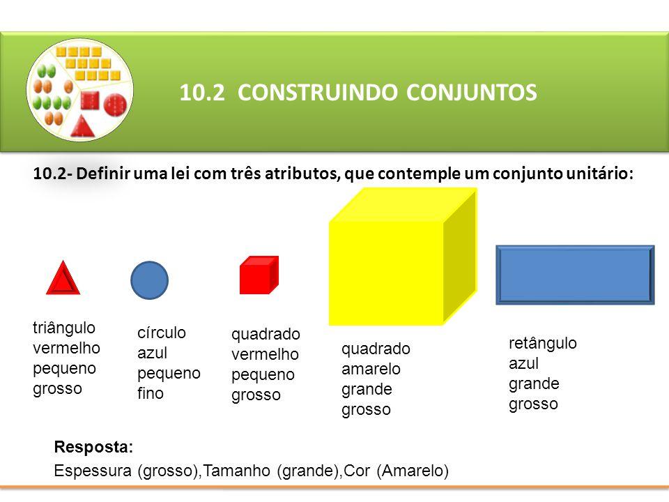 10.2- Definir uma lei com três atributos, que contemple um conjunto unitário: 10.2 CONSTRUINDO CONJUNTOS Resposta: Espessura (grosso),Tamanho (grande)