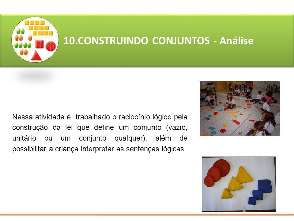 10.CONSTRUINDO CONJUNTOS - Análise Nessa atividade é trabalhado o raciocínio lógico pela construção da lei que define um conjunto (vazio, unitário ou