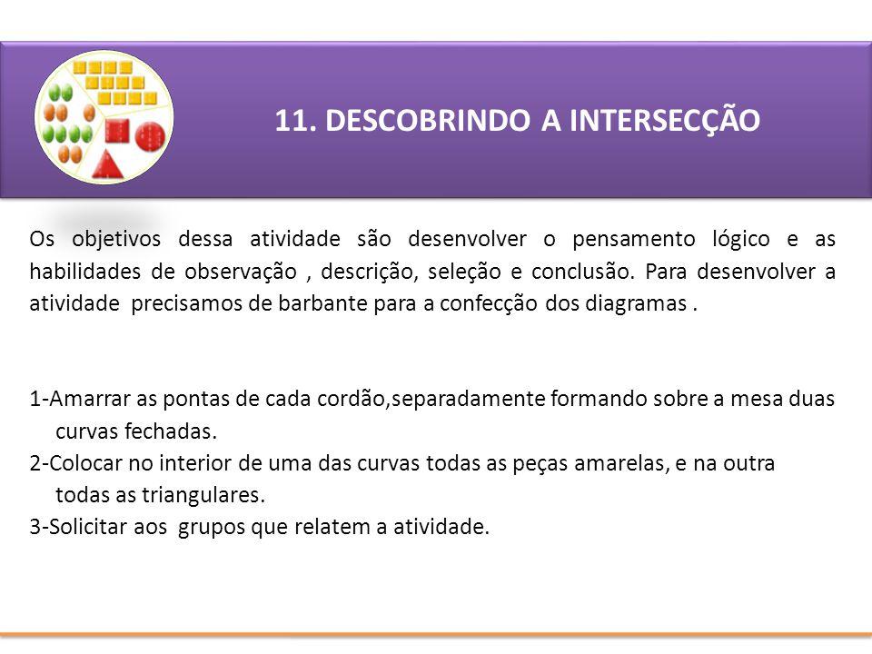 11. DESCOBRINDO A INTERSECÇÃO Os objetivos dessa atividade são desenvolver o pensamento lógico e as habilidades de observação, descrição, seleção e co