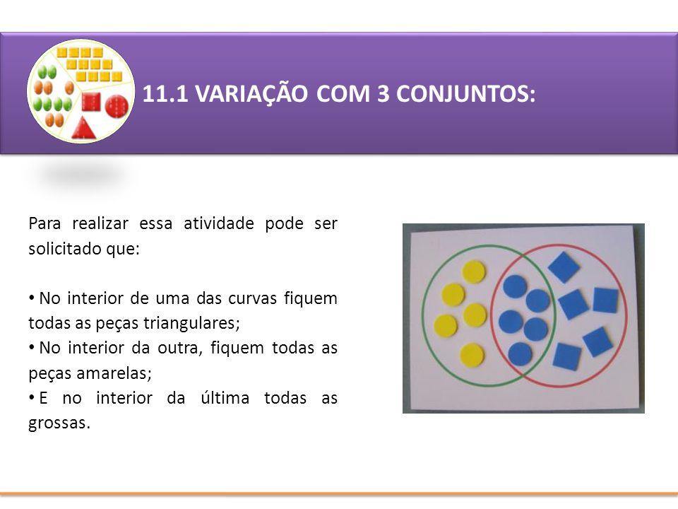 11.1 VARIAÇÃO COM 3 CONJUNTOS: Para realizar essa atividade pode ser solicitado que: No interior de uma das curvas fiquem todas as peças triangulares;